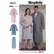 8804 Simplicity Pattern: Women's and Men's Robe in Two Lengths